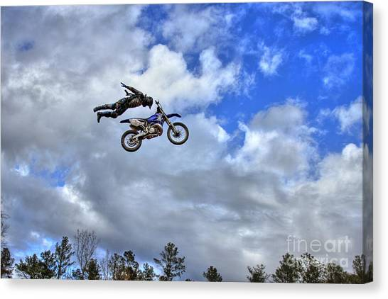 Motocross Canvas Print - Flying High At Durhamtown Not Photoshop by Reid Callaway