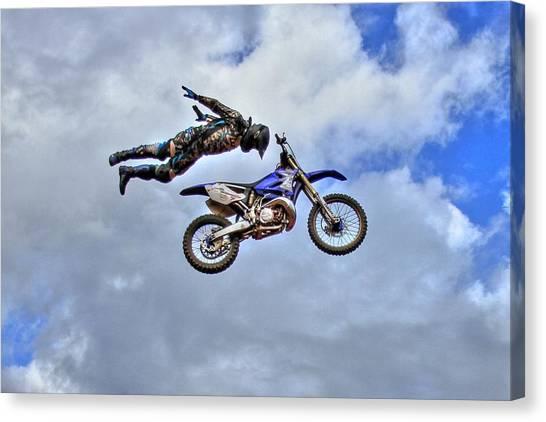 Motocross Canvas Print - Flying High 4 by Reid Callaway