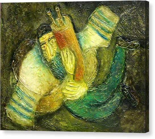 Torah Canvas Print - Flying Jew by Leon Zernitsky