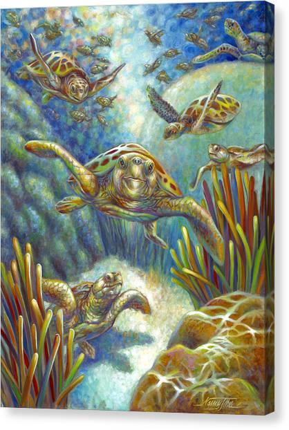 Flying Loggerhead Turtles Canvas Print