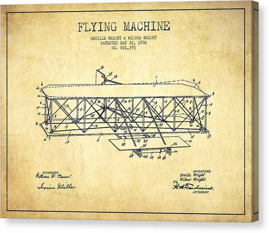 Airplanes Canvas Print - Flying Machine Patent Drawing From 1906 - Vintage by Aged Pixel