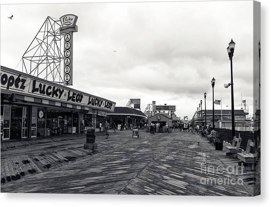 Seaside Heights Canvas Print - Flying Over The Boardwalk Mono by John Rizzuto