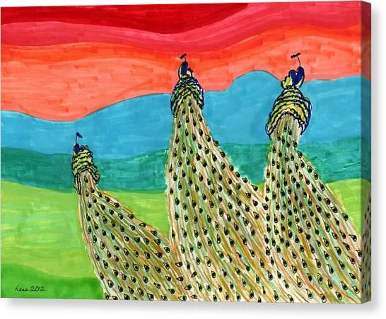 Flying Peacocks Canvas Print