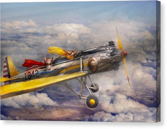 Pig Farms Canvas Print - Flying Pig - Plane - The Joy Ride by Mike Savad