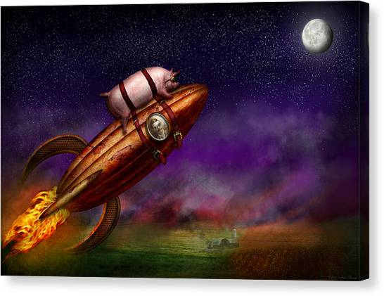 Rocket Canvas Print - Flying Pig - Rocket - To The Moon Or Bust by Mike Savad