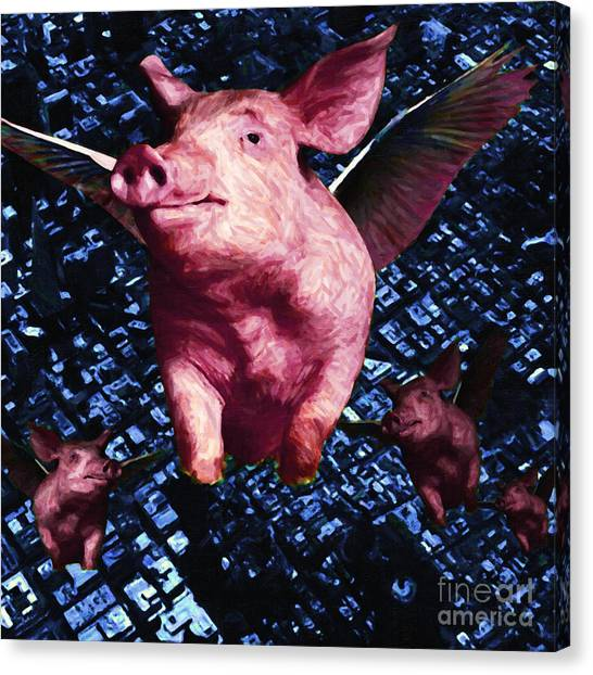 Flying Pigs Over San Francisco - Square Canvas Print by Wingsdomain Art and Photography