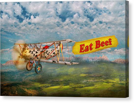 Aerial View Canvas Print - Flying Pigs - Plane - Eat Beef by Mike Savad
