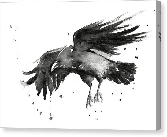 Crows Canvas Print - Flying Raven Watercolor by Olga Shvartsur