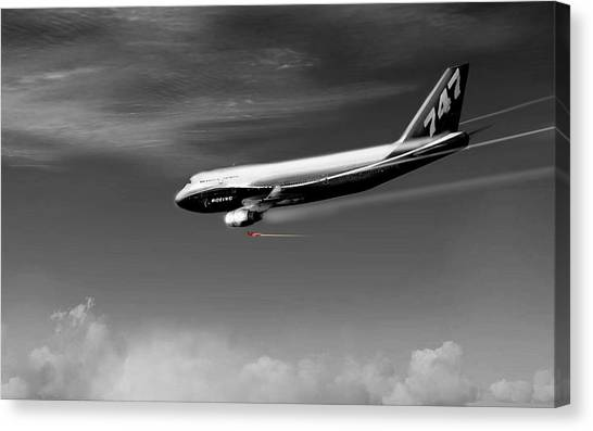 Jetblue Canvas Print - Flying Safe - Boeing 747 by Marcello Cicchini