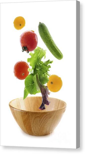 Lettuce Canvas Print - Flying Salad by Elena Elisseeva