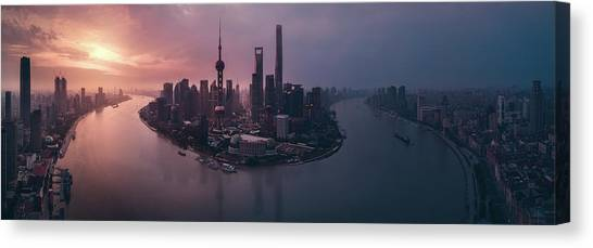 Shanghai Skyline Canvas Print - Flying Shanghai by Javier De La