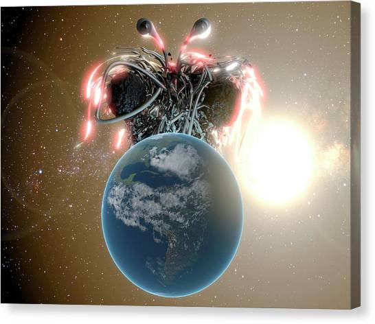 Spaghetti Canvas Print - Flying Spaghetti Monster And Earth by Christian Darkin