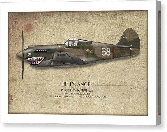 Tiger Sharks Canvas Print - Flying Tiger P-40 Warhawk - Map Background by Craig Tinder