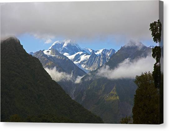 Fox Glacier Canvas Print - Flying To Fox Glacier by Stuart Litoff