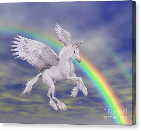 Flying Unicorn And Rainbow Canvas Print