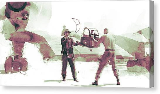 Raiders Of The Lost Ark Canvas Print - Flying Wing Battle by Kurt Ramschissel