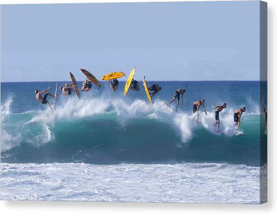 Surfing Canvas Print - Flynnstone Flip by Sean Davey