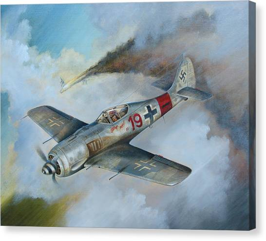 Red Camo Canvas Print - Focke Wulf Fw-190 by Stuart Swartz