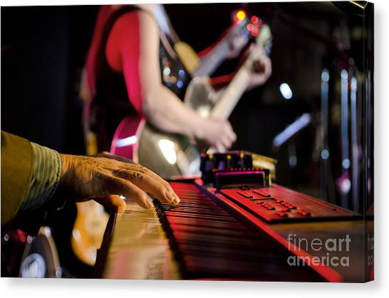 Synthesizers Canvas Print - Focus On Keyboard by Gord Horne
