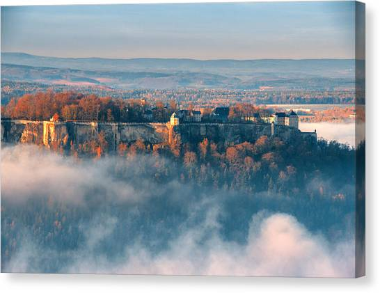 Fog Around The Fortress Koenigstein Canvas Print