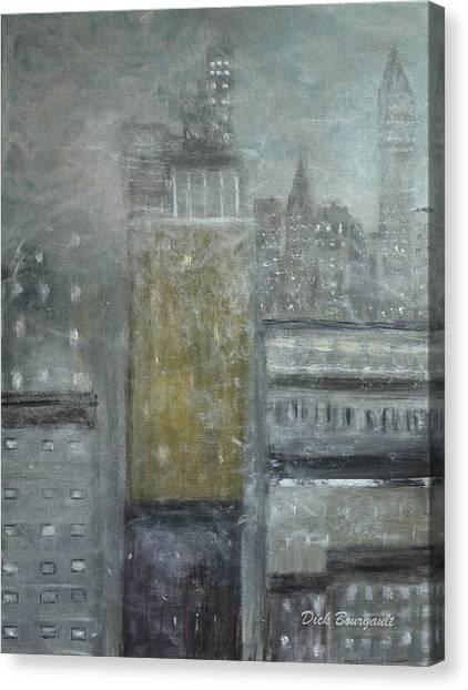 Fog Covered City Canvas Print