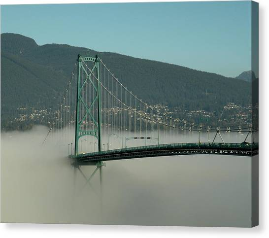 Fog Engulfing The Lion's Gate Bridge Canvas Print