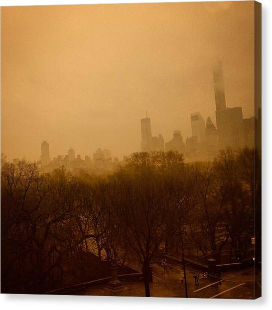 Gothic Art Canvas Print - Fog In Sepia by David Lubetsky