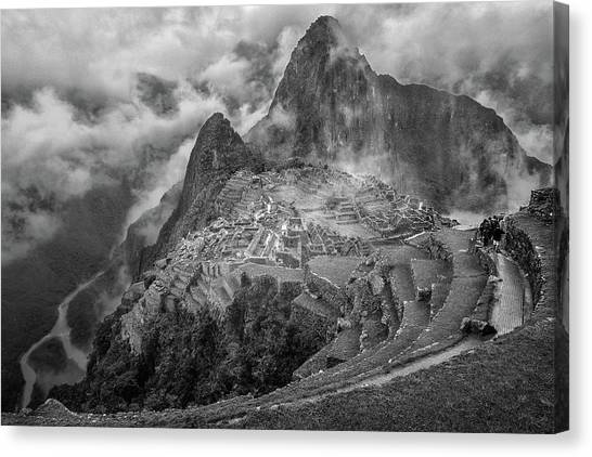 Peruvian Canvas Print - Fog In The Machu Picchu by Richard Huang