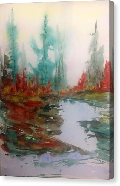 Fog In The Woods - Fall Canvas Print by Desmond Raymond