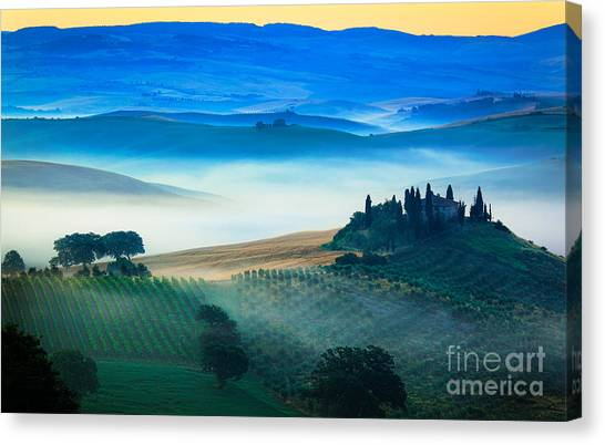 Scenic Canvas Print - Fog In Tuscan Valley by Inge Johnsson