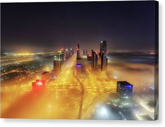 Night Lights Canvas Print - Fog Invasion by Mohammad Rustam