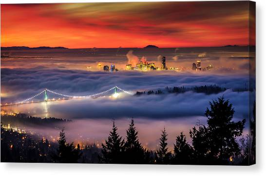 British Columbia Canvas Print - Fog Inversion Over Vancouver by Alexis Birkill
