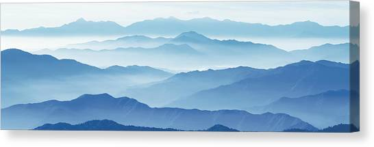 Mountainscape Canvas Print - Fog Mountains Nagano Japan by Panoramic Images