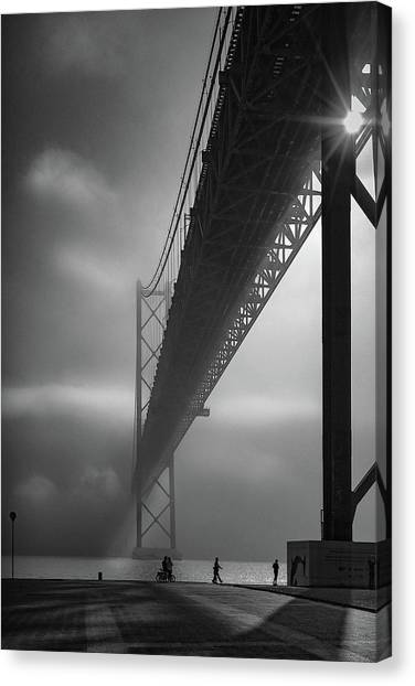 Fog On The Tejo River Canvas Print by Fernando Jorge Gon?alves