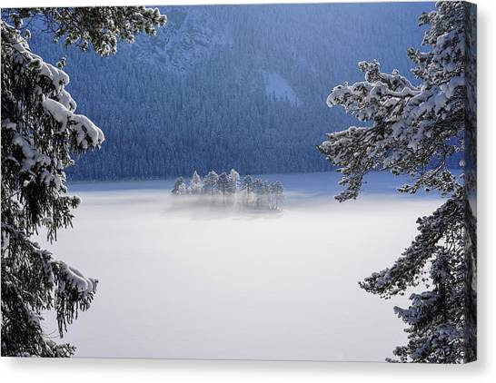 Fir Trees Canvas Print - Fog Over Frozen Lake by Norbert Maier