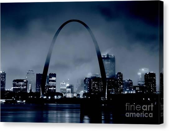 Fog Over St Louis Monochrome Canvas Print