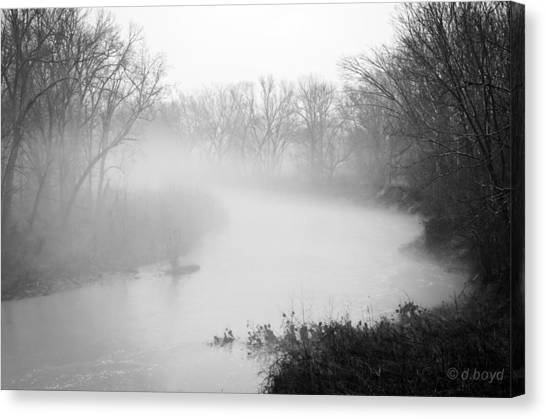 Fog Over The Stream Canvas Print