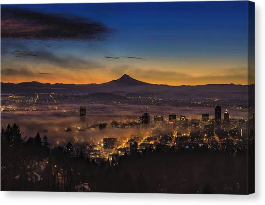 Fog Rolling In At Dawn Over The City Of Portland Canvas Print