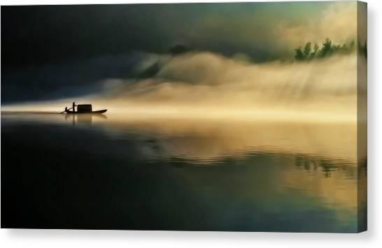 Fog Sprinkle The East River Canvas Print by Hua Zhu