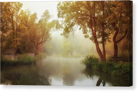 Pond Canvas Print - Foggy Autumn by Leicher Oliver