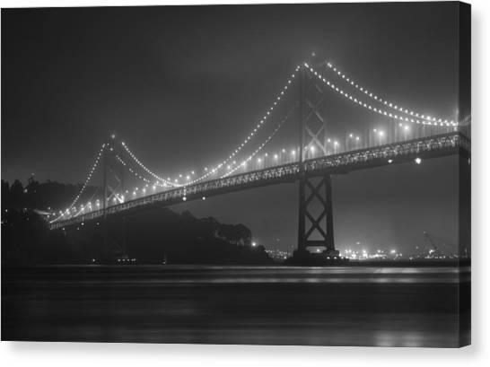 Foggy Bay Bridge Canvas Print