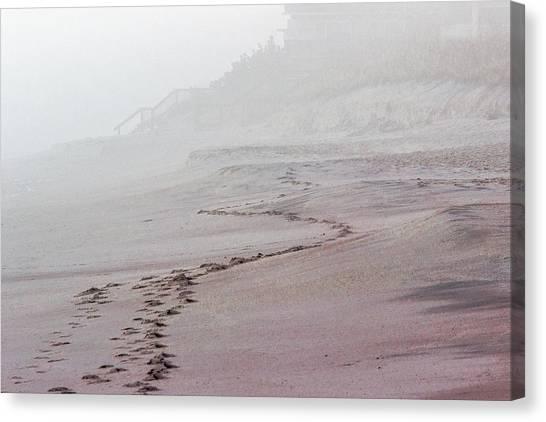 Foggy Beach At Dawn Canvas Print