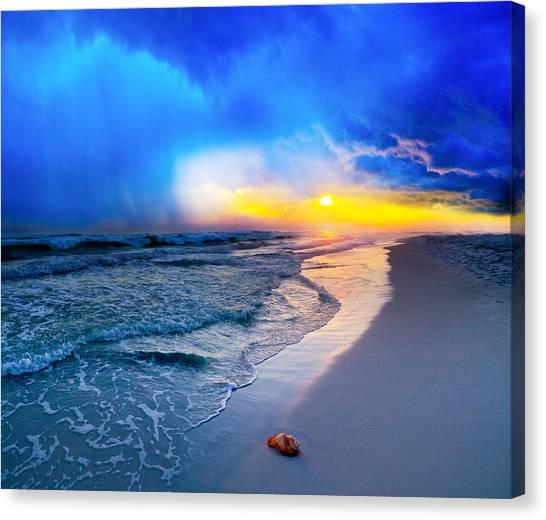 foggy blue sunrise - sea shell on Pensacola Beach Florida Canvas Print