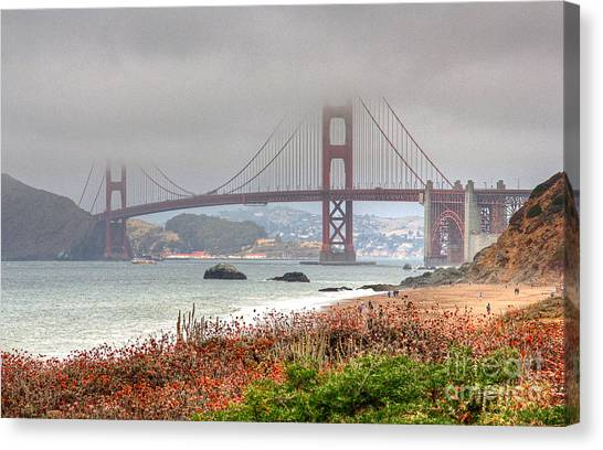Canvas Print featuring the photograph Foggy Bridge by Kate Brown