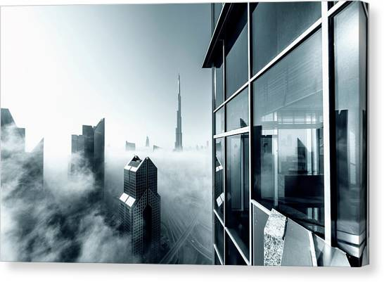 Dubai Skyline Canvas Print - Foggy City by