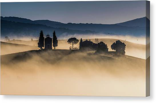Chapel Canvas Print - Foggy Dawn In Val D'orcia by Robert Debreczeni