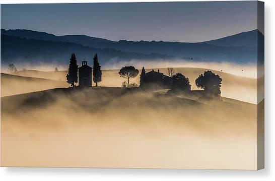 Cypress Canvas Print - Foggy Dawn In Val D'orcia by Robert Debreczeni