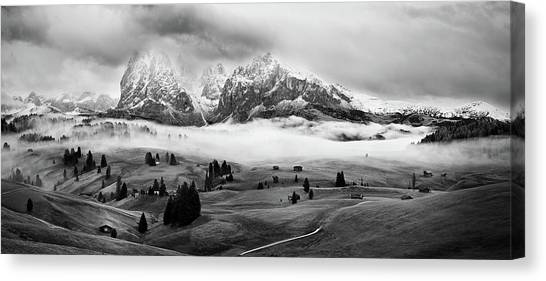 Foggy Dolomites Canvas Print by Marian Kuric