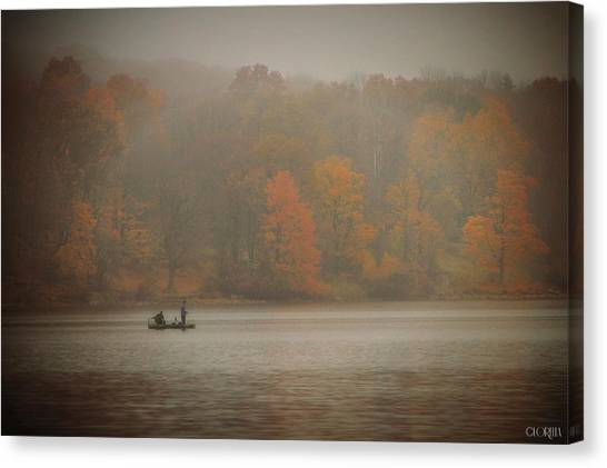 Foggy Fishing Canvas Print