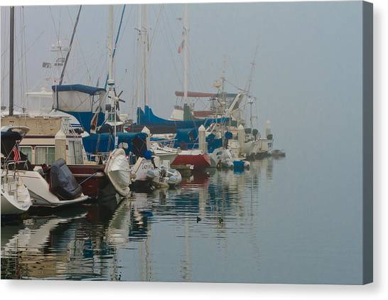 Foggy Harbor Canvas Print